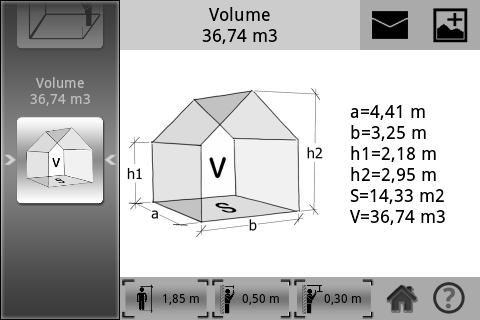 M3 mesure de surface et de volume application android for Calculer une superficie en m2